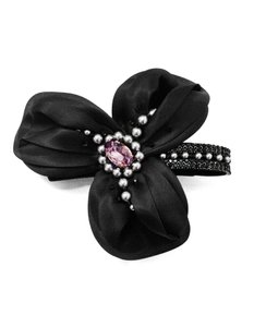 Philip Treacy Philip Treacy Black Crystal & Faux Pearl Barrette with Box