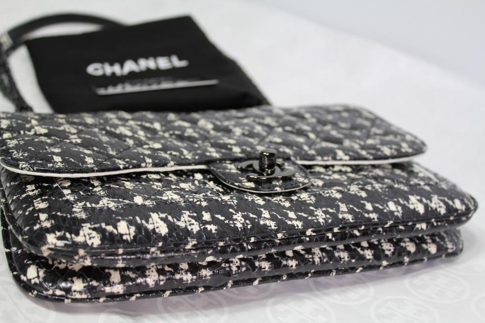 26aea064fe9a7b Chanel Classic Houndstooth Flap Chain Purse Black White Tweed Quilted  Python Skin Leather Cross Body Bag - Tradesy