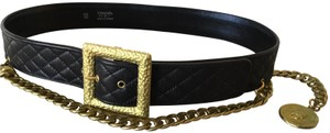 Chanel RARE VINTAGE CHANEL '94A BLACK DIAMOND QUILTED LEATHER BELT