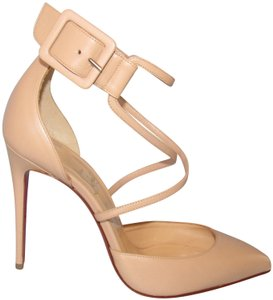Christian Louboutin Criss Cross With Box Red Sole Nude Pumps
