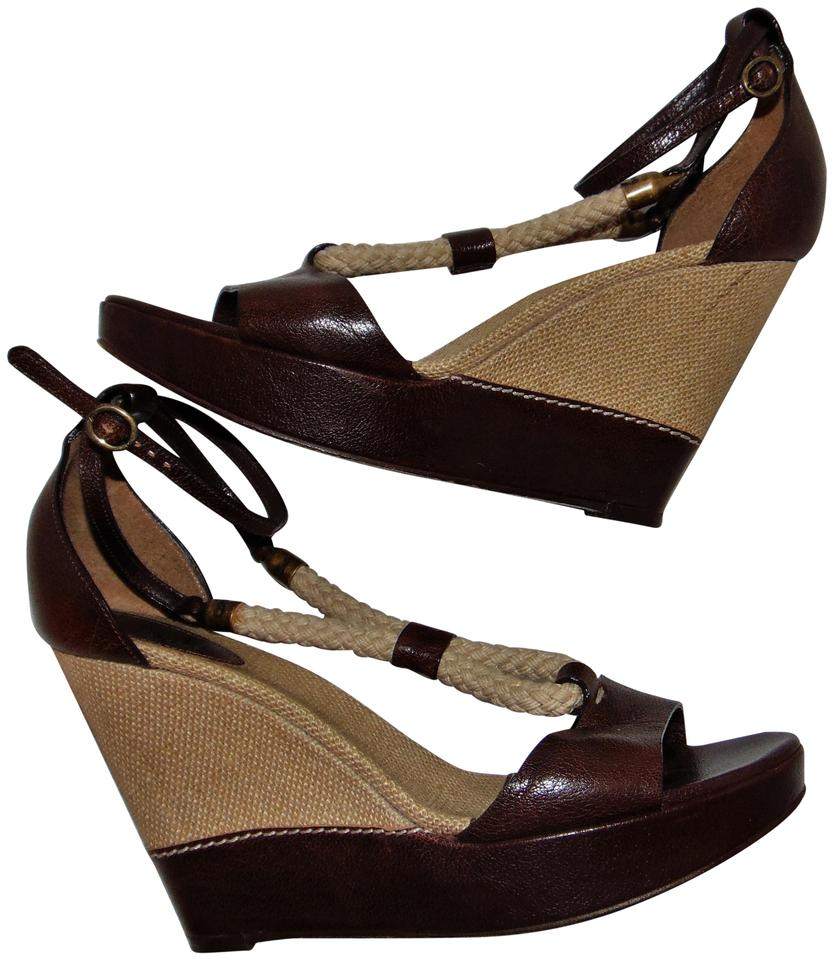 Chloé Brown Leather and and Leather Rope Sandals 413fbc