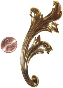 Georges Rech Stylized Leaf Pin Brooch Large Signed Gold Plated Baroque