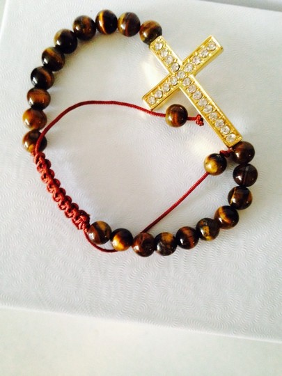 Tai NWOT Tigers Eye Gemstone With Crystal Cross Adjustable Cord Bracelet Image 1