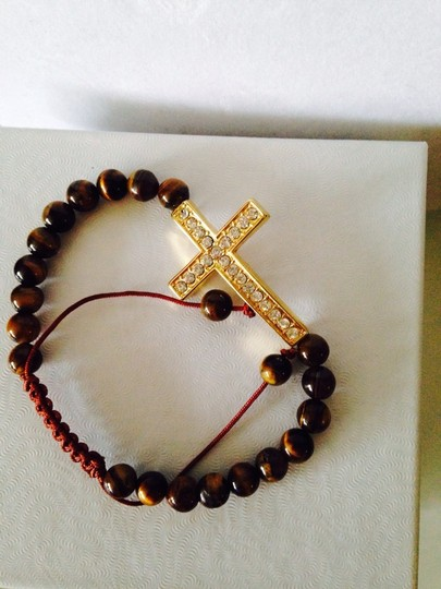 Tai NWOT Tigers Eye Gemstone With Crystal Cross Adjustable Cord Bracelet Image 2