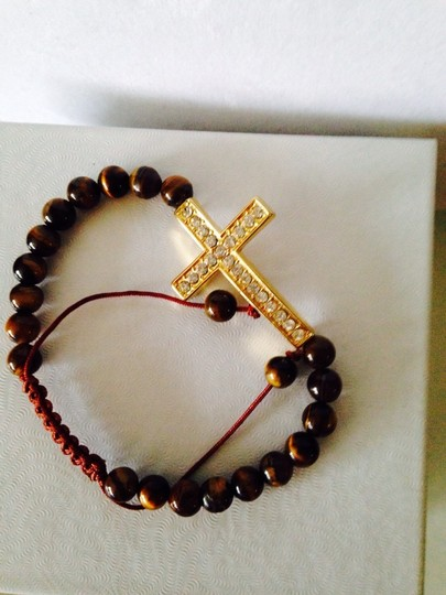 Tai NWOT Tigers Eye Gemstone With Crystal Cross Adjustable Cord Bracelet Image 3