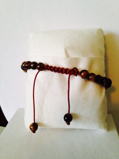 Tai NWOT Tigers Eye Gemstone With Crystal Cross Adjustable Cord Bracelet Image 4
