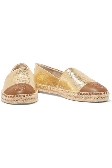 b2abaf001 Tory Burch New Gold Two-tone Metallic Cracked-leather Espadrilles ...