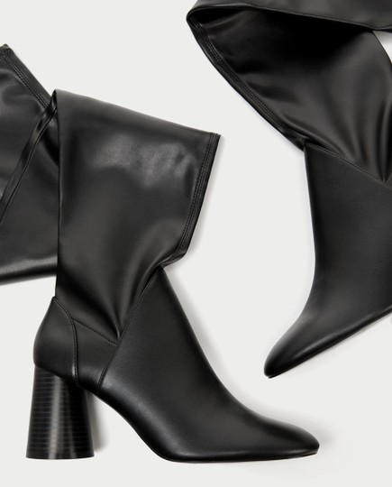 Zara Over The Knee Knee High Comfortable Thick Heel Round Toe black Boots Image 1
