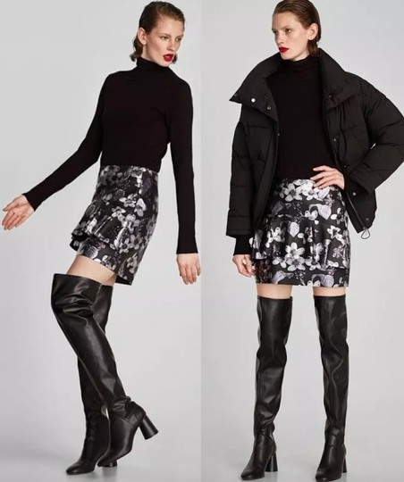 Zara Over The Knee Knee High Comfortable Thick Heel Round Toe black Boots Image 2