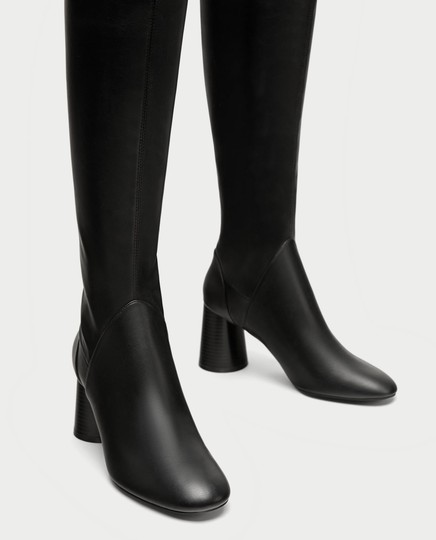 Zara Over The Knee Knee High Comfortable Thick Heel Round Toe black Boots Image 3