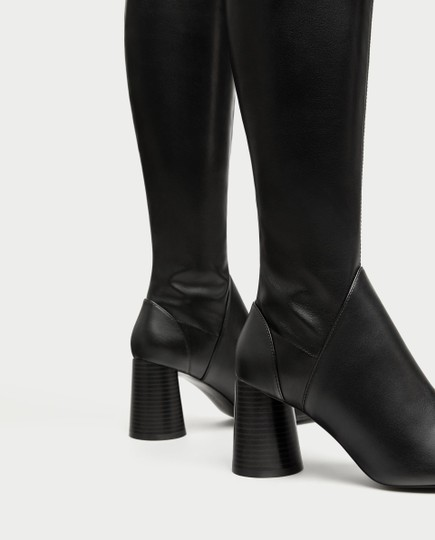 Zara Over The Knee Knee High Comfortable Thick Heel Round Toe black Boots Image 4