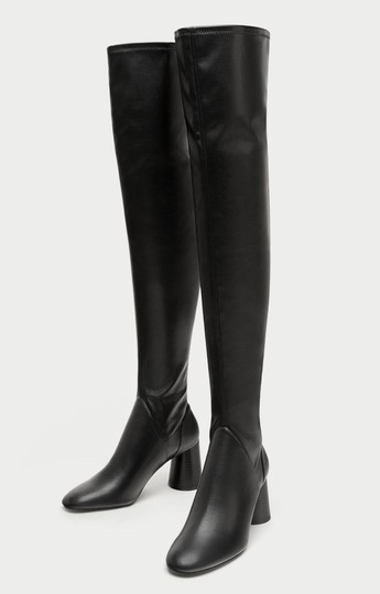 Zara Over The Knee Knee High Comfortable Thick Heel Round Toe black Boots Image 6