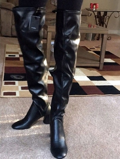 Zara Over The Knee Knee High Comfortable Thick Heel Round Toe black Boots Image 8