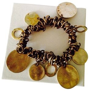 Antiqued Hammered Disc Shaky Stretch Bracelet