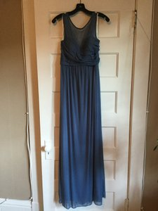David's Bridal Steel Blue Mesh Long with Illusion Neckline F15927 Formal Bridesmaid/Mob Dress Size 8 (M)
