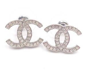 Chanel Chanel Classic Silver CC Crystal Moscova Piercing Earrings