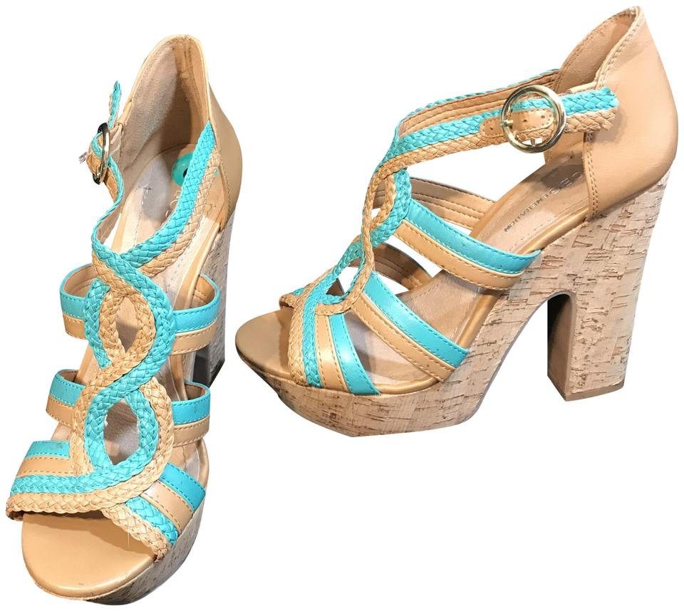 c5fca6d5114 BCBGeneration Tan and Turquoise Pl-sanfordx Strappy Cork Sandals Platforms