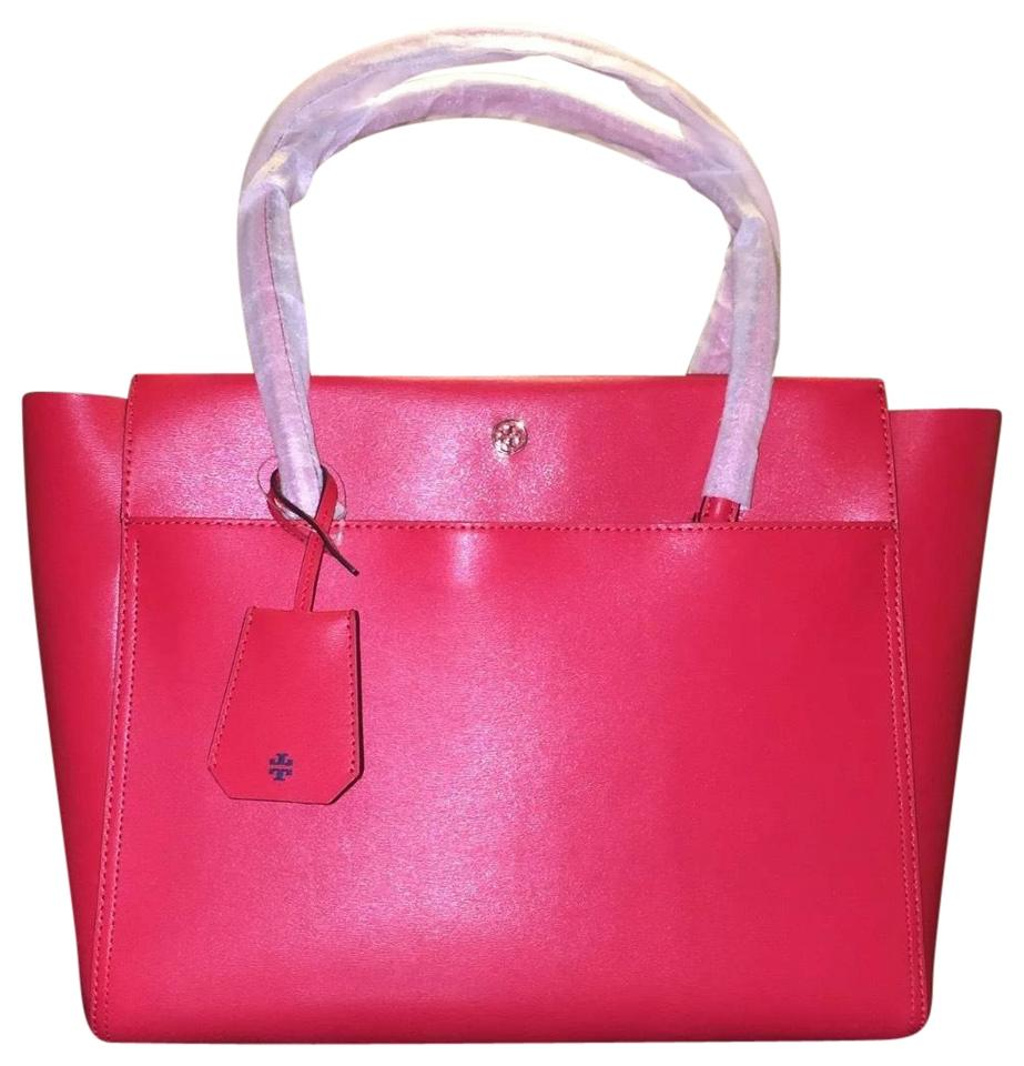 bc97623689e Tory Burch Parker Large Cherry Apple Leather Tote - Tradesy