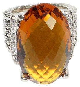 David Yurman David Yurman Large Wheaton Oval Citrine and Diamond Ring
