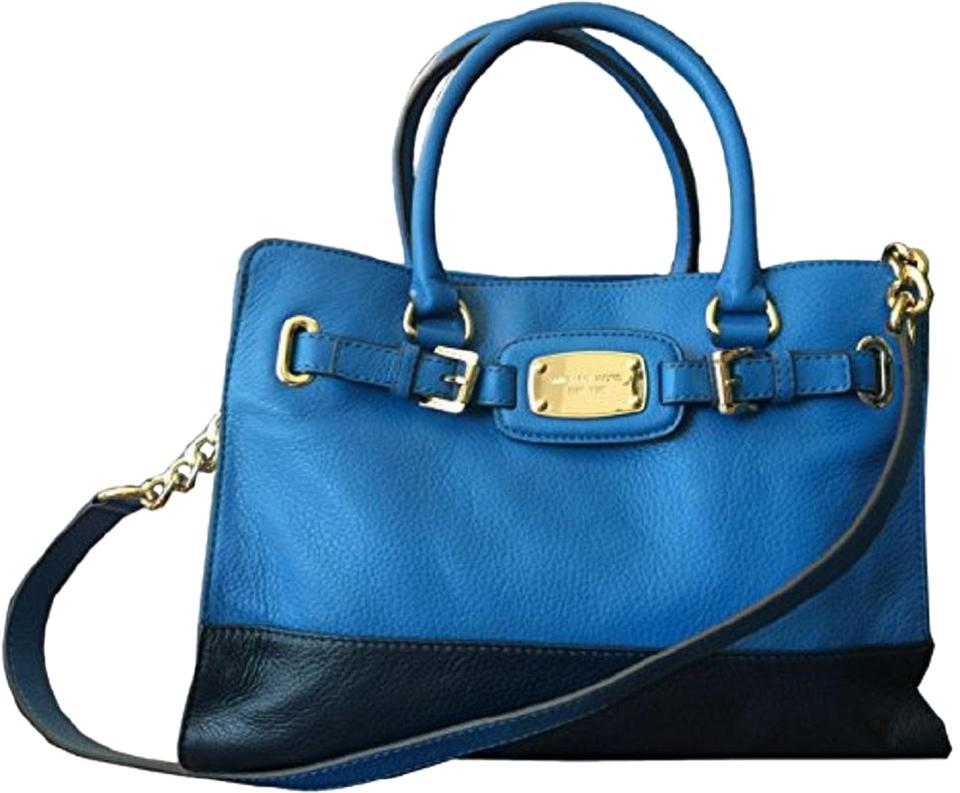 a7afb37c14 Michael Kors Hamilton Ew Large Colorblock Tote Heritage and Navy Blue  Leather Satchel