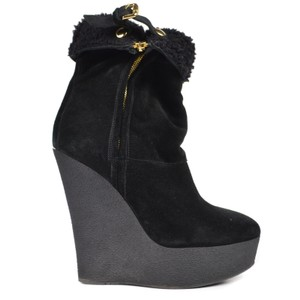 Burberry Shearling Boots Platform Black Wedges