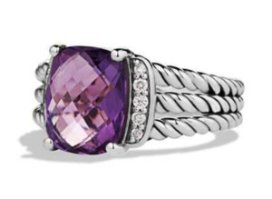 David Yurman David Yurman Petite Wheaton St Silver Amethyst Diamonds Ring