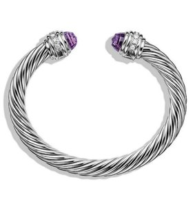 David Yurman DAVID YURMAN CLASSIC CABLE AMETHYST and DIAMONDS 7 mm BRACELET