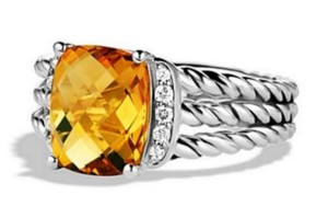 David Yurman David Yurman Petite Wheaton St Silver Citrine Diamonds Ring