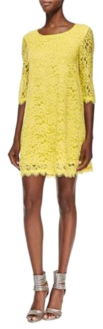 Item - Chartreuse Yellow Dvf Martina Lace Tunic Short Night Out Dress Size 10 (M)