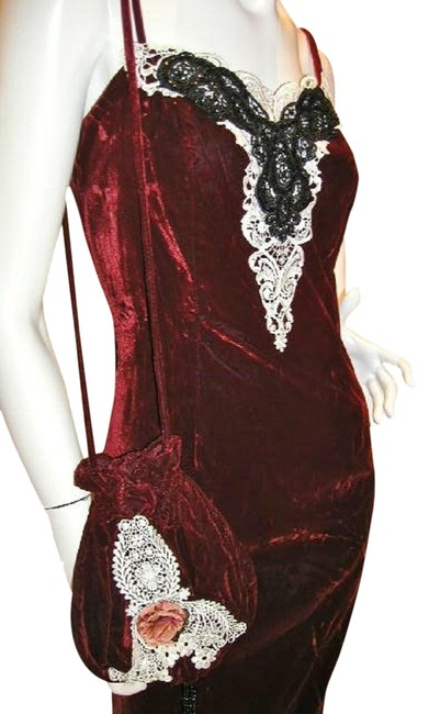 Item - Ruby/Red W T-strap Velvet Embroider Vintage Details W/Matching Sachet: Back Split Long Night Out Dress Size 12 (L)