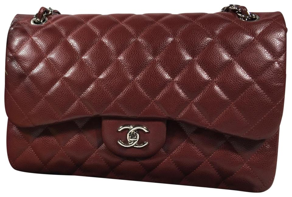 6f2ee995659c Chanel Classic Double Flap Jumbo Burgundy Red Caviar Leather Cross ...