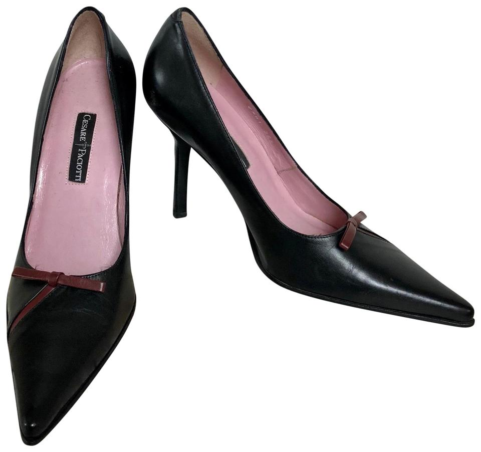 Cesare Pumps Paciotti Black Nwob Pointed Toe Leather Pumps Cesare 9b705c