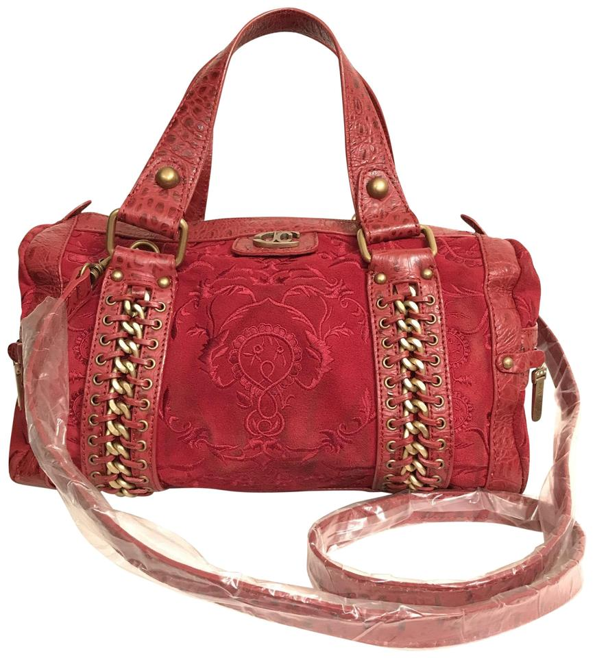 de1d75cf3883 Just Cavalli Rich Embroidered Velvety W Gator Embossed Red Gold Suede Leather  Satchel