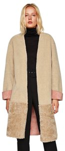 Zara Beige Bottom Pink Fur Coat