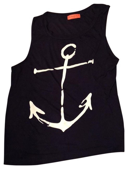 Item - Black with White Anchor Tank Top/Cami Size 8 (M)