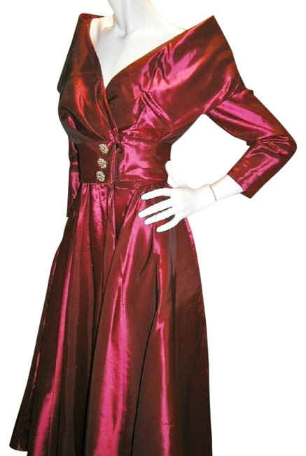 Item - Red Irodescence W Vintage Portrait Wide Collar W/Drop Waist Full Bottom Long Night Out Dress Size 10 (M)