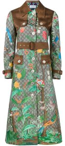 Gucci Guccissima Gg Supreme Tian Leather Belted Trench Coat