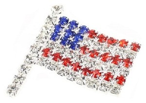 Other American Flag Multicolor Rhinestone Crystal Brooch Pin