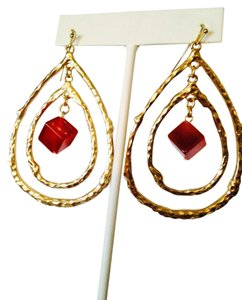 Panacea Cache NWOT Square Rad Carnelian Double Teardrop Dangle Earrings