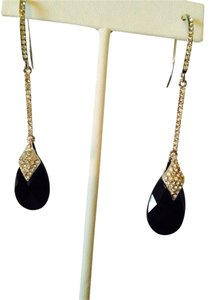 Neiman Marcus NWOT Faceted Black Teardrop & Cubic Zirconia Long Dangle Earrings