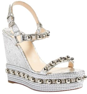Christian Louboutin Red Sole Espadrille Silver Wedges