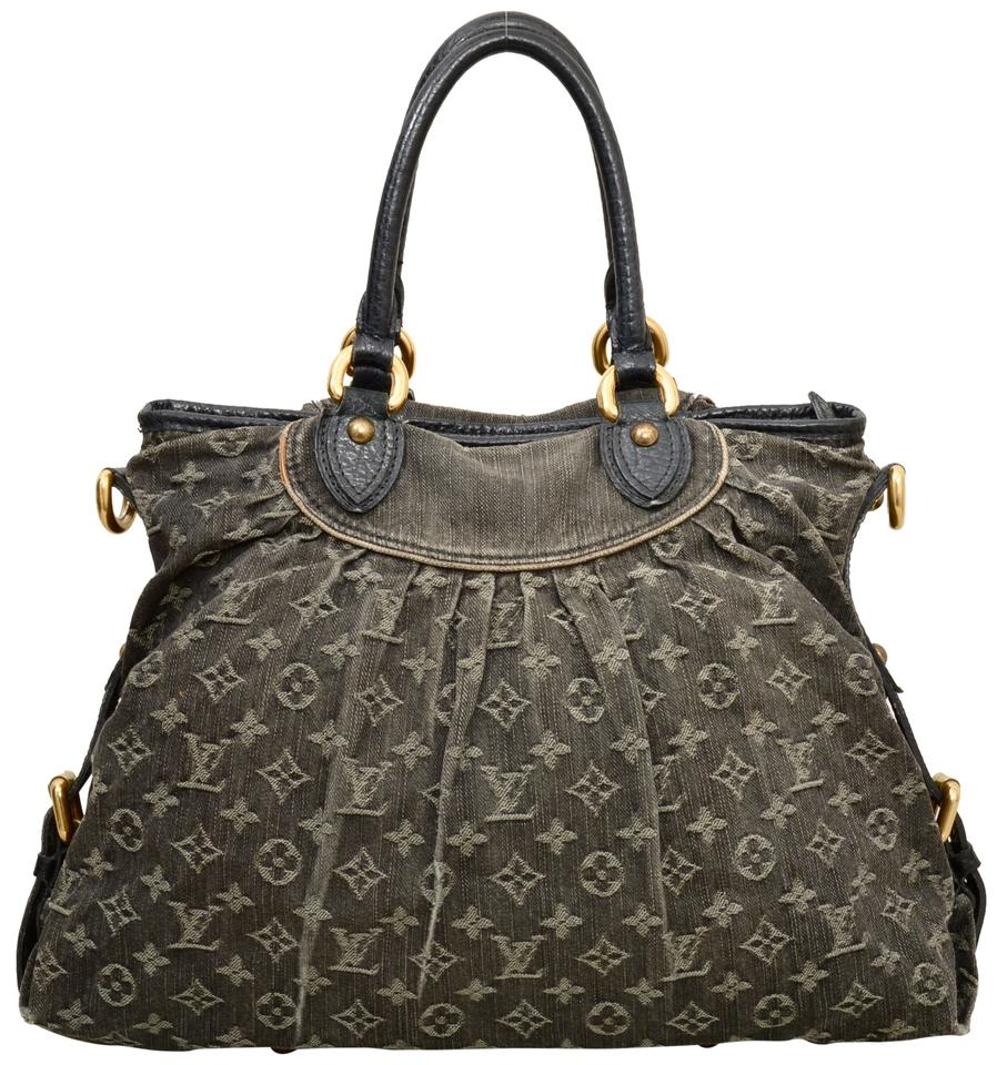 6f5e9bda6620 Louis Vuitton Neo Cabby Mm Satchel with Strap M95352 Black Monogram Denim  Shoulder Bag