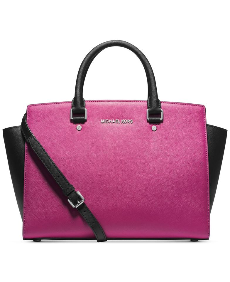 4266f2ca5fd7 Michael Kors Color-blocking Two Tone Magenta Convertible Cross Body Satchel  in Deep Pink Black ...