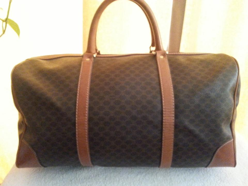 Céline Macadam Paris Duffle Brown Leather and Coated Canvas Weekend Travel  Bag bfd63825dc