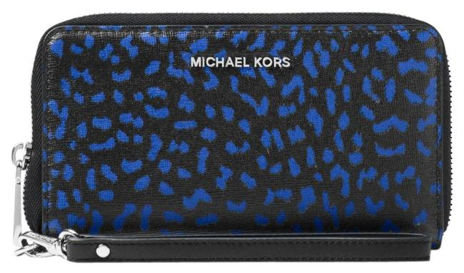 Michael Kors Blue Jet Set Travel Leopard Leather Smartphone Wristlet Wallet Michael Kors Blue Jet Set Travel Leopard Leather Smartphone Wristlet Wallet Image 1