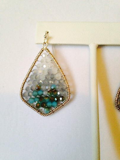 Panacea Cache NWOT Faceted Shades Of Aqua In Silver Wire Wrapped Earrings