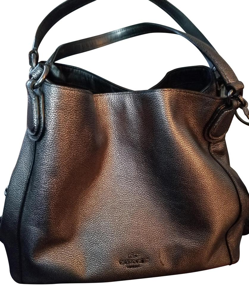 f467bfd0d9d8 Coach Edie 31 Metallic Silver Pebble Leather Shoulder Bag - Tradesy