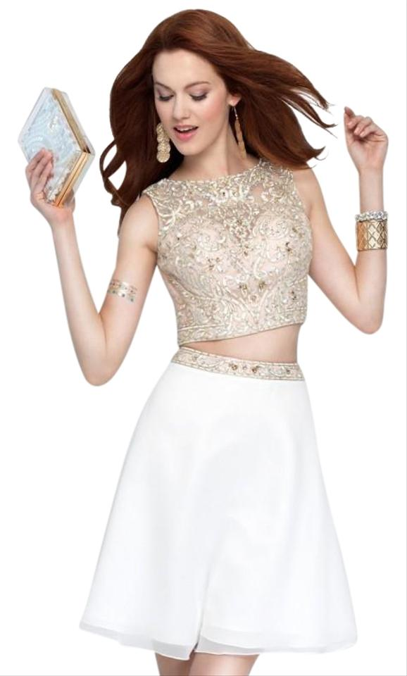 Alyce Paris White (Cream) and Champagne 3691 Short Cocktail Dress ...