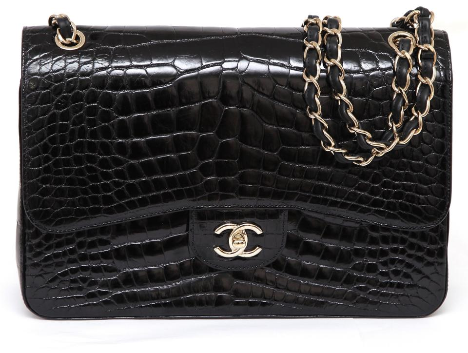 ffd9172dce81 Chanel Classic Flap 12a Jumbo Double Classic Gold Black Alligator ...