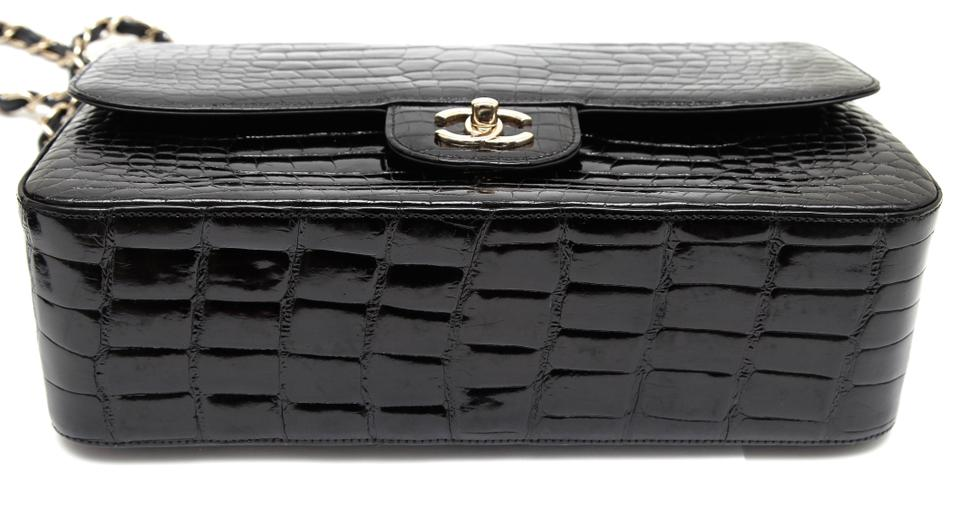 d160a3e0491e Chanel Classic Flap 12a Jumbo Double Classic Gold Black Alligator Skin  Leather Shoulder Bag - Tradesy